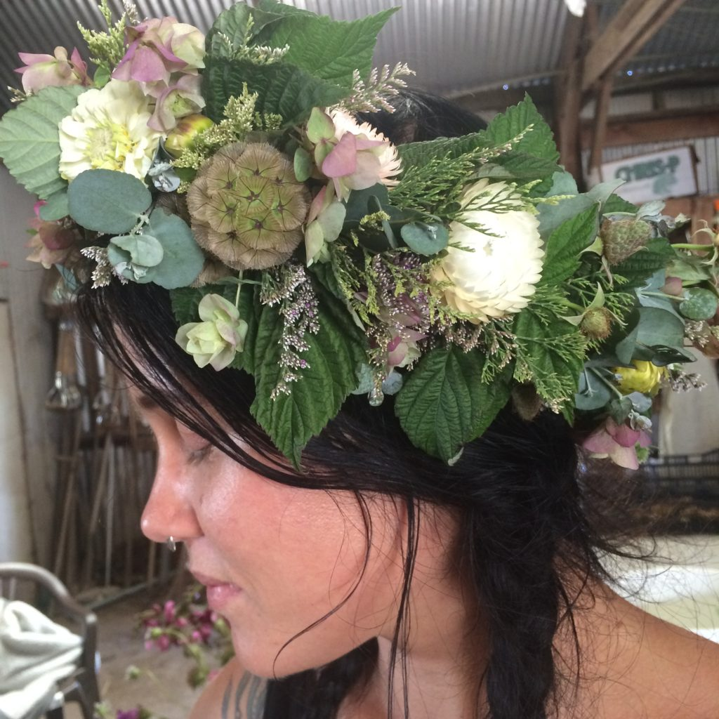 Flower crown modeled by Abigail Reno